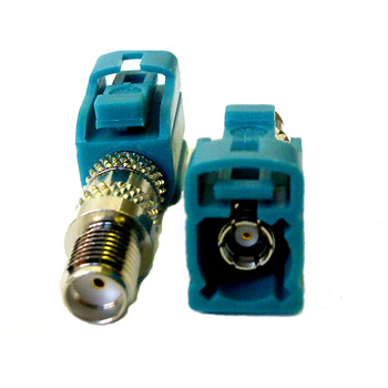 SMA female to FAKRA female Waterblue Antenna Adaptor (CFF.SMAJ-NEUJ)