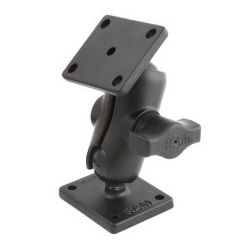 "(RAM-B-141-A) 1"" Ball Mount with Short Double Socket Arm & 2"" x 1.7"" Rectangular Plates AMPs Hole Pattern"