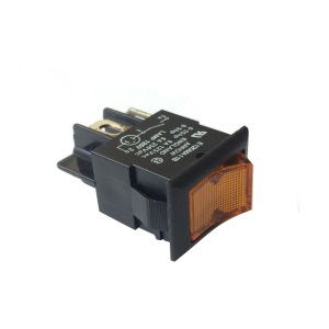 Rocker Switch 6amp 250V DPST with Amber Neon Light (RS.MDRS2A)