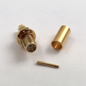 SMA Female (Bulk head) RG58 Connector with Crimpable Pin (C.111F/PC-BH)