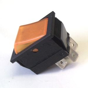 Rocker Switch 16Amp 250V DPST with Amber Neon (RS.DRS4N/A)