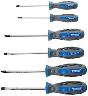 Screwdriver Set Slotted & Phillips 6-Pieces-Bicoloured