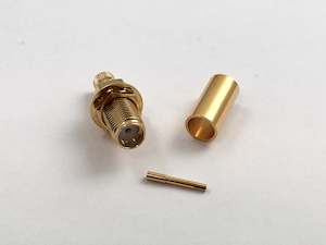 SMA Female (Bulk head) RG58 Connector with Crimpable Pin (C.111F/PC-BH)