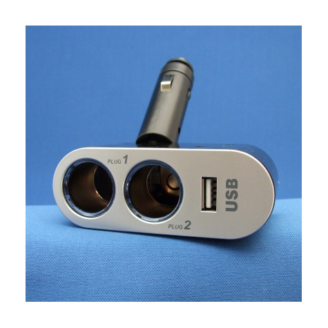 In-Car Charger Adaptor Two Sockets amd USB Port
