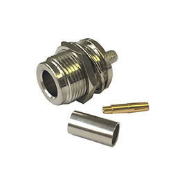 'N' series female bulkhead RG58 crimp connector (RG58)